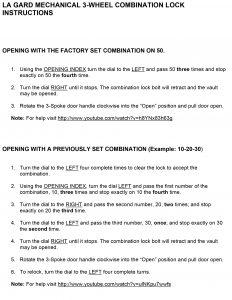La Gard Lock Instructions