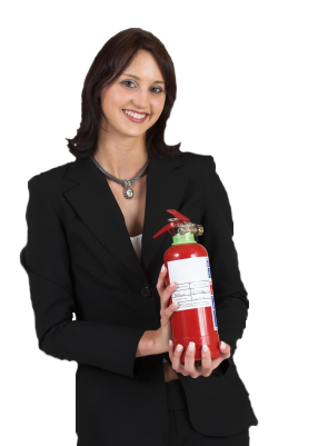 Woman Fire extinguisher